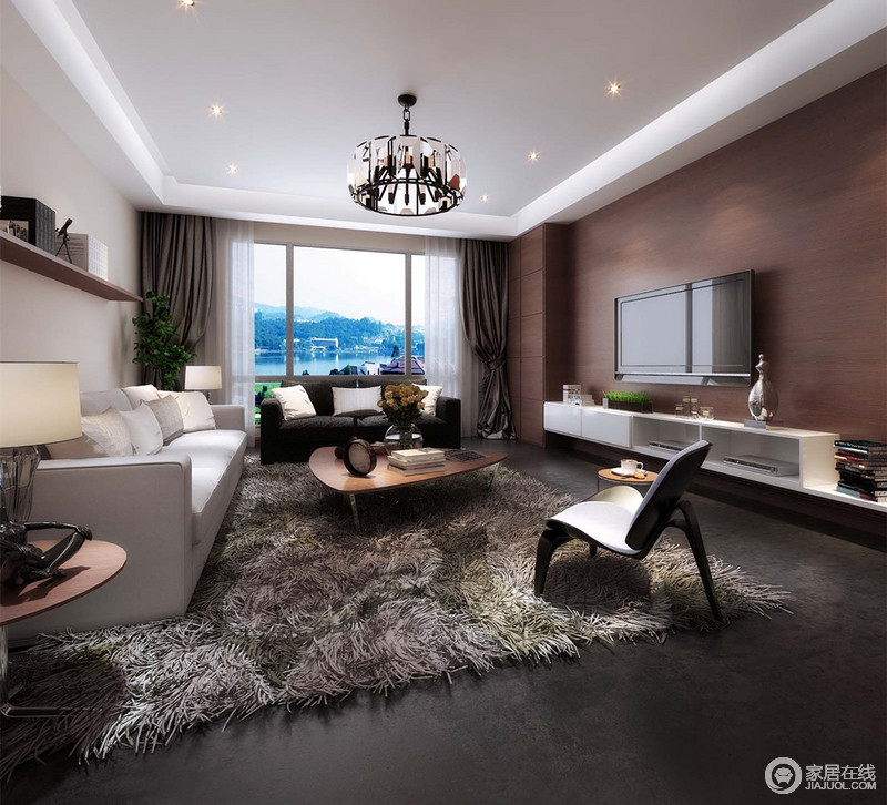 客厅以自然感的水泥灰作地面,保持内敛的沉稳,而绒毛地毯则中和冰冷施以温暖的质感。背景墙面分别以浅驼色壁纸和棕红实木铺展,在家具陈列下,空间充满现代感层次。