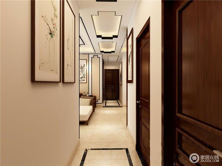 过道延续了空间设计的主调,以米色为主,同时,搭配米色地砖,让整个空间形成一种暖和的感觉;中式画作点缀出空间的文雅,让你时刻够能感受到东方意蕴。