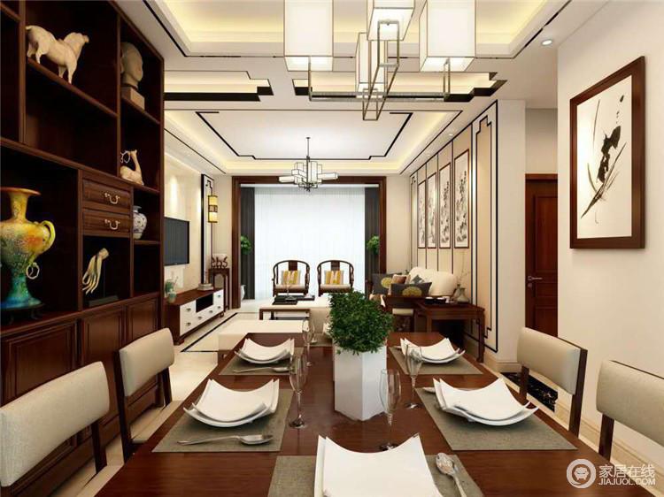新中式风格的餐厅,特点在于结合中国传统建筑之美,体现中国传统饮食文化,极具中国传统文化特色,又让空间不失功能性,给主人一个轻奢的生活体验。