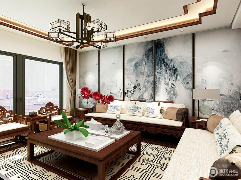 客厅给人的感受就是现代与中式的完美融合,双层吊顶让空间更加富有层次感,胡桃木色的家居和白色的床品的结合让空间颜色有了强烈的对比。背景墙的山水画让空间变得的意境十足。