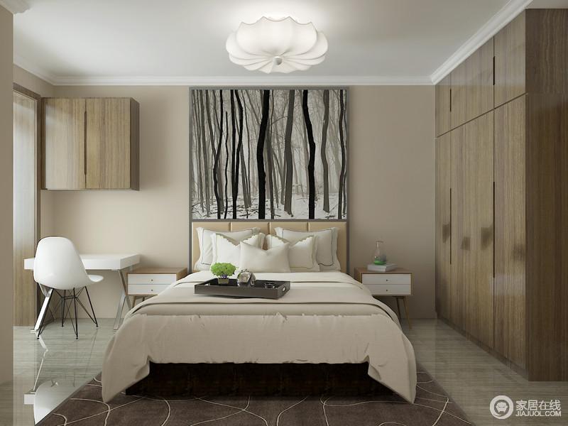 卧室以功能性出发,着重体现舒适度;浅驼色的立面与木纹悬挂柜和立柜带来自然的温实,而萧瑟冷调的森林雪景图表达了自然的百般变化,生动活趣;白色简约边柜和北欧椅子的实用,简洁温和。