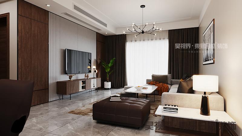 电视背景墙使用灰色的硬包,提高整体的质感。