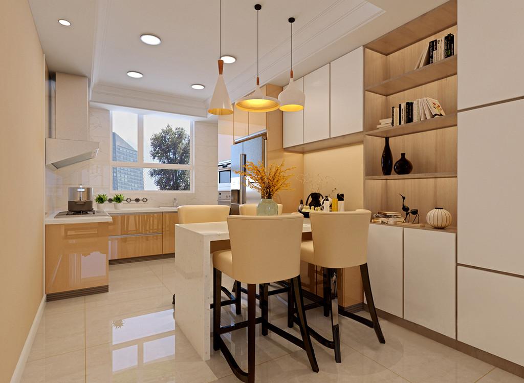 小空间里如何有效利用空间,才是合理布置空间的主要思路;餐厨一体的设计,让空间交叉使用,增加功能性;厨房地柜色彩与餐厅高脚椅呼应,大理石吧台餐桌与厨房台面呼应,酒柜结合着简白和米黄多重置物,空间整体显得柔和温馨。