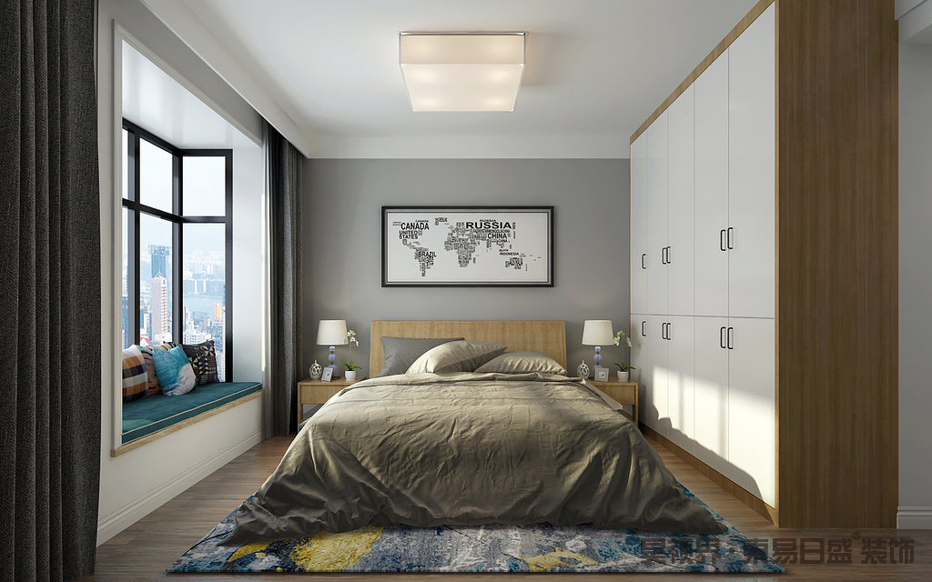 主卧的背景墙以灰色漆为主,而素描地毯的留白设计让整个墙面简约而大气;白色板材和实木打造得衣柜与木地板延续着北欧的实用主义,正如实木床头柜和台灯对称之中给你舒适;驼色床品和飘窗处的蓝色坐垫、彩色靠垫以色彩冲撞,与蓝色地毯给家带来优雅。
