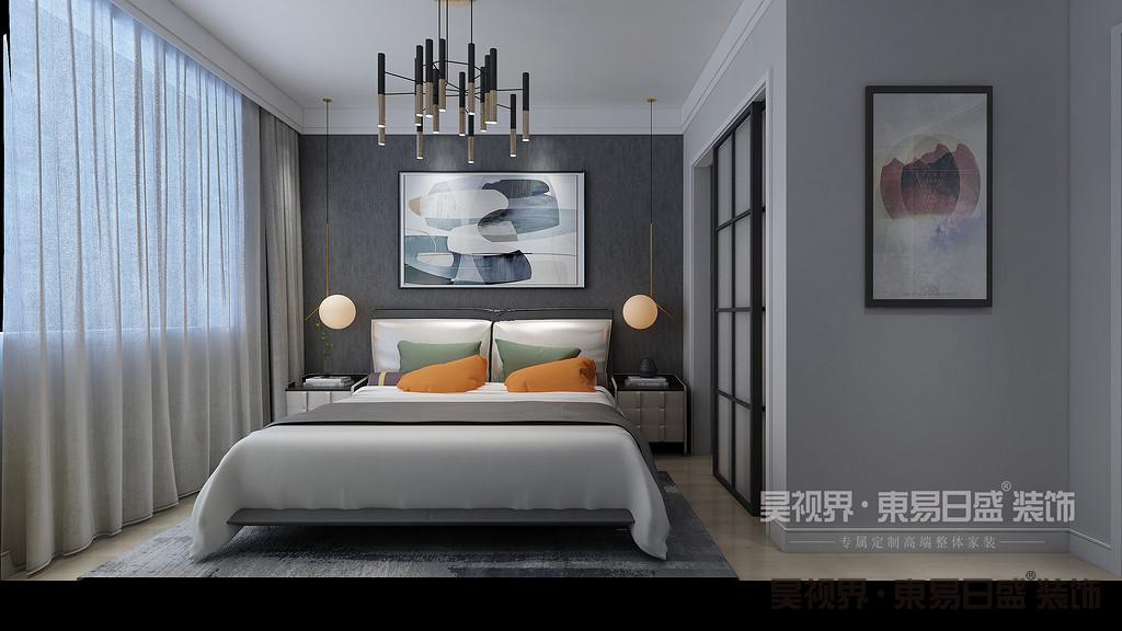卧室采用蓝色的素色壁纸,配色简洁素雅,色调沉稳宁静床头挂画是点睛之笔。深色双人床和床头柜设计,搭配床头背景墙,温馨感由内而生