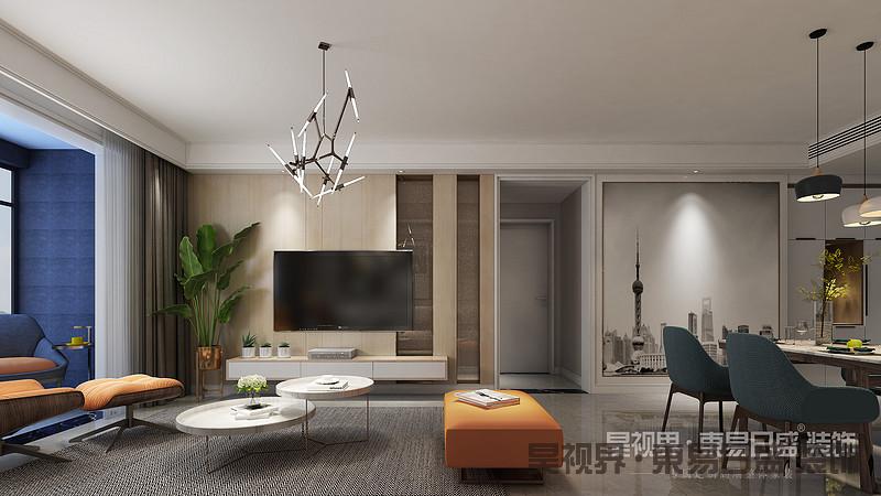 客厅营造一种简洁舒适的氛围,好让心灵靠岸休憩。木质墙板温馨亮丽,长虹玻璃是它最好的搭档。