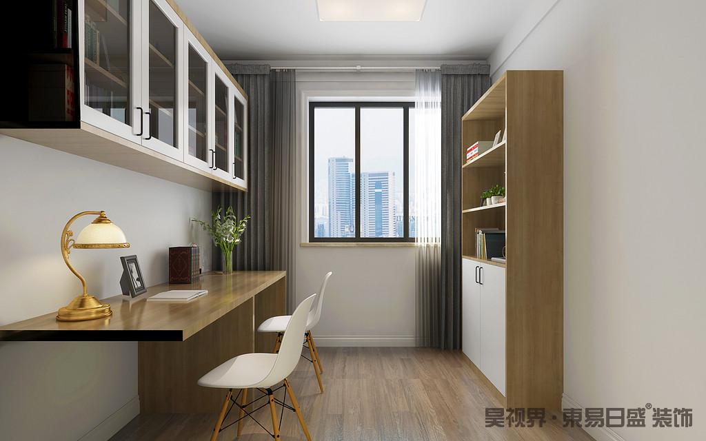 书房以白色墙面和实木地板营造原始的朴质,实木书柜、书桌和悬挂柜一气呵成,讲述实用美学,简单而温和;白色北欧单椅与灰色床品素雅之中让空间更为宁静。