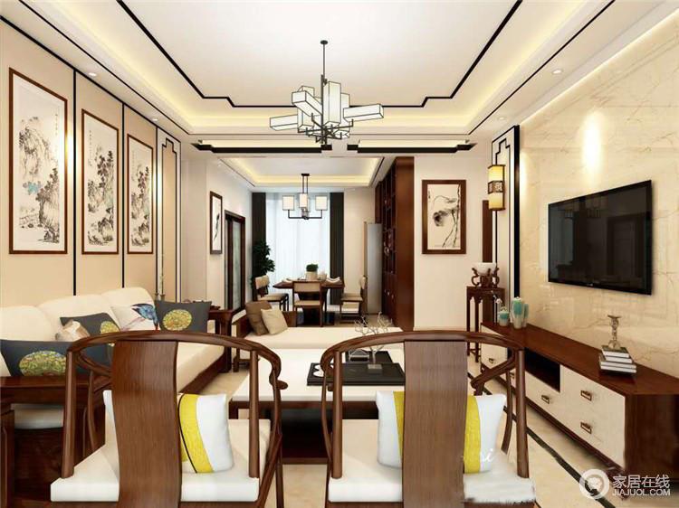 客厅的吊顶以中式设计擅长的口字性来勾勒,中式吊灯的新韵之意,让吊顶变得更有律动;米色调的空间搭配中式圈椅和配饰,让东方气息更加浓烈。
