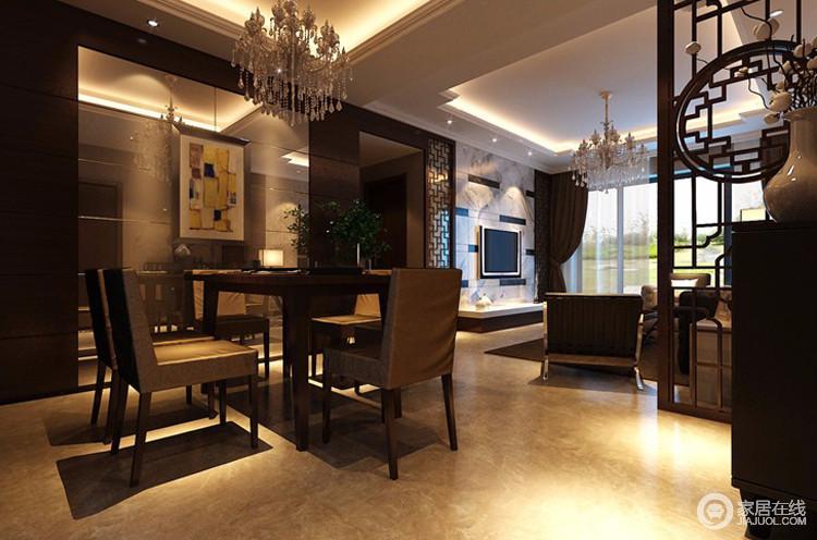 餐厅连接着客厅,采用的都是以褐色为主的颜色,这样会让餐厅与客厅完美的相互呼应,使得整个空间更加一体化。