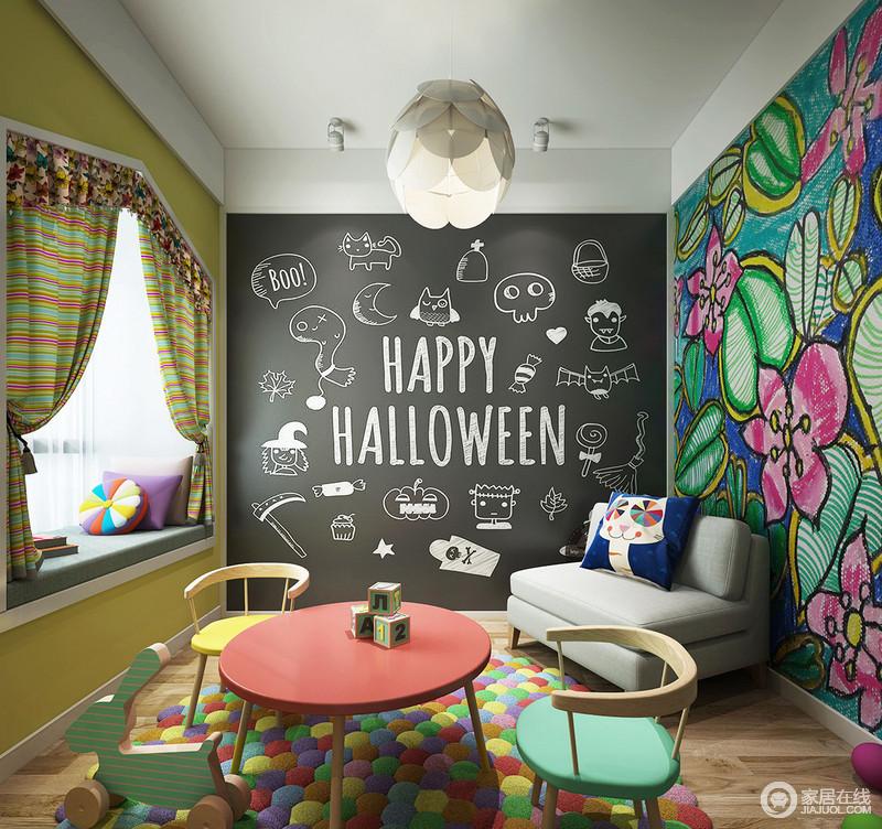 这是一个五彩缤纷的儿童休闲游乐室,黑板墙满足了孩子爱涂画的小兴趣,而黄色调与彩色花卉墙面以斑斓的色彩,与彩色儿童家具,营造了出轻松活泼,给孩子的生活添置生机。