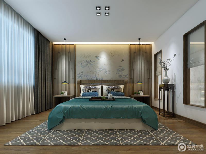 卧室采用了对称的方式,制造出规整的空间状态,素简端庄中透着现代韵味;床头柜的背景装饰,在线条展现中与地毯的几何纹理,相得益彰;一袭深蓝色床品,仿佛沉淀着岁月醇香。