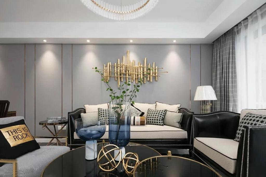 以高级黑白灰为主调的沙发品质与格调感满满,沉稳大气不失优雅。