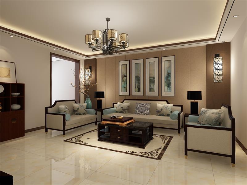 客厅以驼色软包将沙发背景墙塑造的利落大气,青墨地挂画带来清新雅韵,平衡出空间的色彩感;圆形壁灯的中式元素与吊灯相得益彰,尽显东方神韵;而新中式沙发和实木茶几、台灯对称而置,让空间和谐静美。