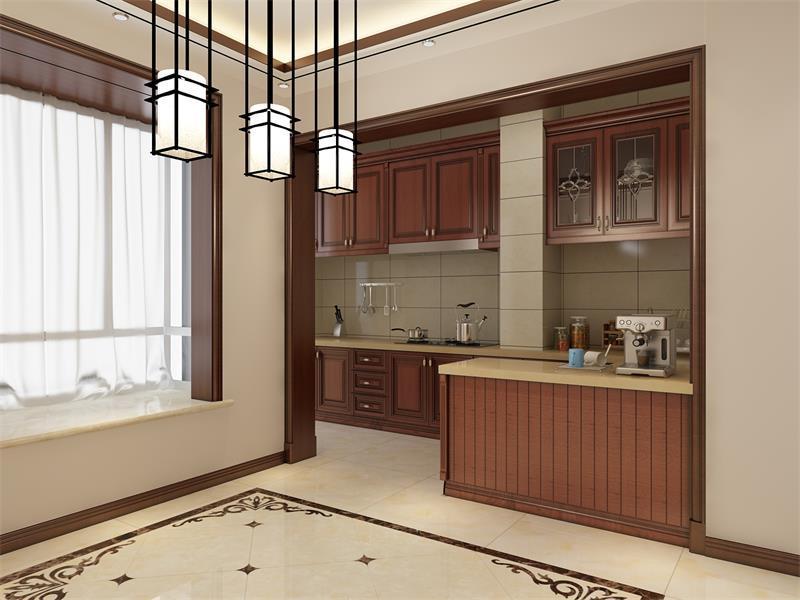 厨房半开放式的设计让整个空间既功能明确,又大气十足;三盏铁艺吊灯并排出现在厨房之外,与拼花地砖够呈独特的组合,而实木定制橱柜以实用为主,并通过米色大理石构成素淡的设计。