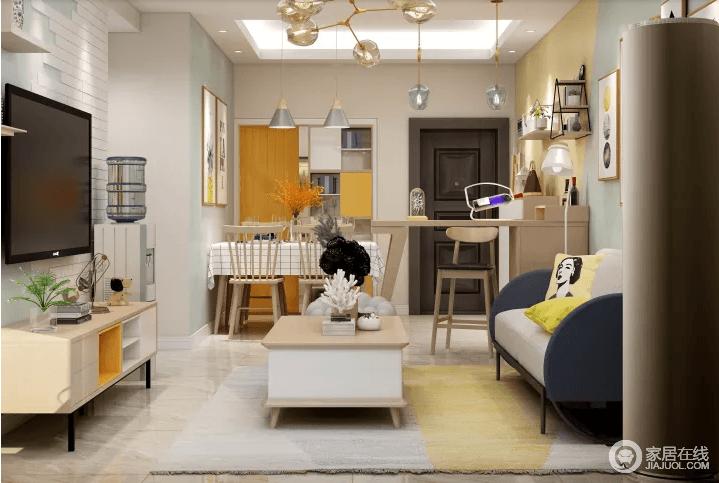 客厅对于家庭成员来说,除了是多功能,多用途的空间,还是生活空间的中心。它的最佳位置是在餐厅旁边,与私人空间分开。通过摆设家具,建立了一个稳定的区域,在所提供的空间里满足需求,电视墙的装饰我采用了大面积的浅色墙,通过文化石的不规则拼接,使原本单调的墙面装饰增添了几许趣味,充分利用了房体的高度,营造了视觉上高敞宽阔的效果;吊顶只简单做了一个直线造型,突显简洁流畅的设计风格。