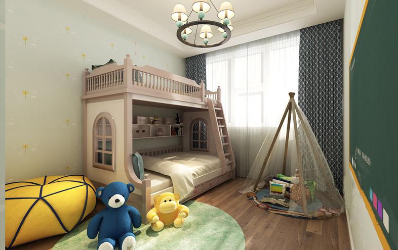 儿童房以浅绿色壁纸营造轻快感,与绿色黑板让生活更为俏皮;实木地板的温实更为古朴,双层床可满足两个孩子居住,蓝色菱形窗帘和纱幔不仅起到遮避的作用,更填优雅;实木支架小篷、绿色圆毯处地玩具,给孩子提供了一个玩耍区,更为自在。