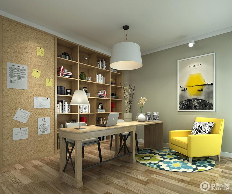 书房以实木为主,从地板、书柜到实木书桌,无一例外,张扬着北欧艺术的精髓;黄色沙发与蓝绿花卉圆毯都成明快,让整个空间的色彩不过于单调,反而时尚了不少。
