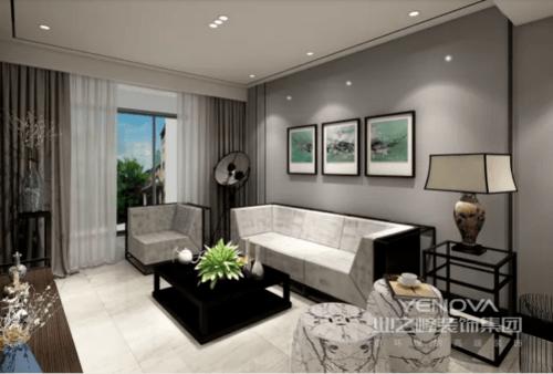 简练的天花加上沙发背景简练线条,衬映着精致的饰品,更显静谧风雅, 妙处横生;没有多余的装饰,使空间看起来更经典更具统一性,营造出中式惬意的生活姿态,同时充满了现代风格的幸福味道。
