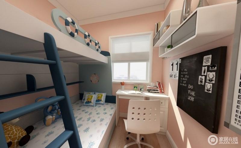 次卧因为面积的限制,所以考虑 上下的儿童床,这样的话也有一个学习的空间。墙面是橘粉色,让儿童房多了一些生气。
