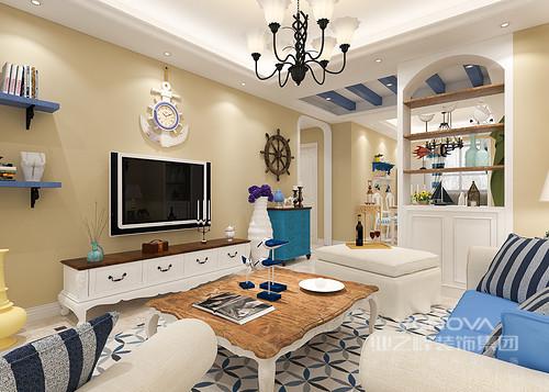 客厅利用海洋元素展现出浓浓的地中海风格,整个客厅区域仿如海洋般散发出纯净深邃的迷人气息,演绎一处全天然的舒适空间。复古家具的点缀使空间表现出丰富的层次性。