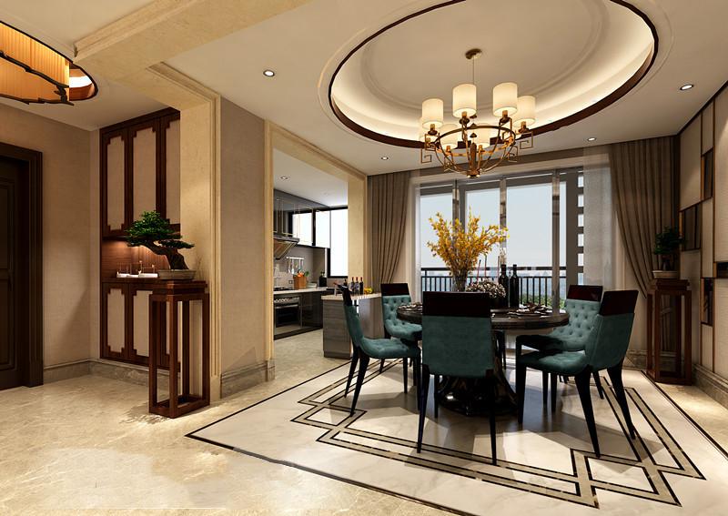 桂林彰泰•春天三居室150㎡新中式风格:餐厅装修设计效果图