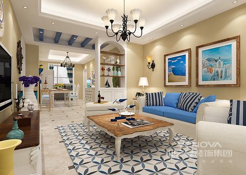 地中海的蓝、复古的黄、优雅的白交织出温软清爽舒适的空间氛围;点缀的植物和动物摆件又表现出自然的气息,拱形玄关柜分隔出客厅与餐厅区域。