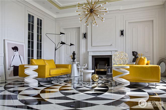 整个客厅的设计,颜色纯粹干净,跳跃的黄色使整个空间更为明亮