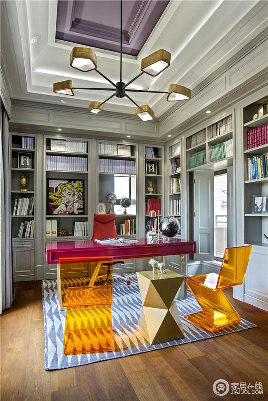书房的设计,色调上会比较跳跃,而整个空间也会相对的明亮