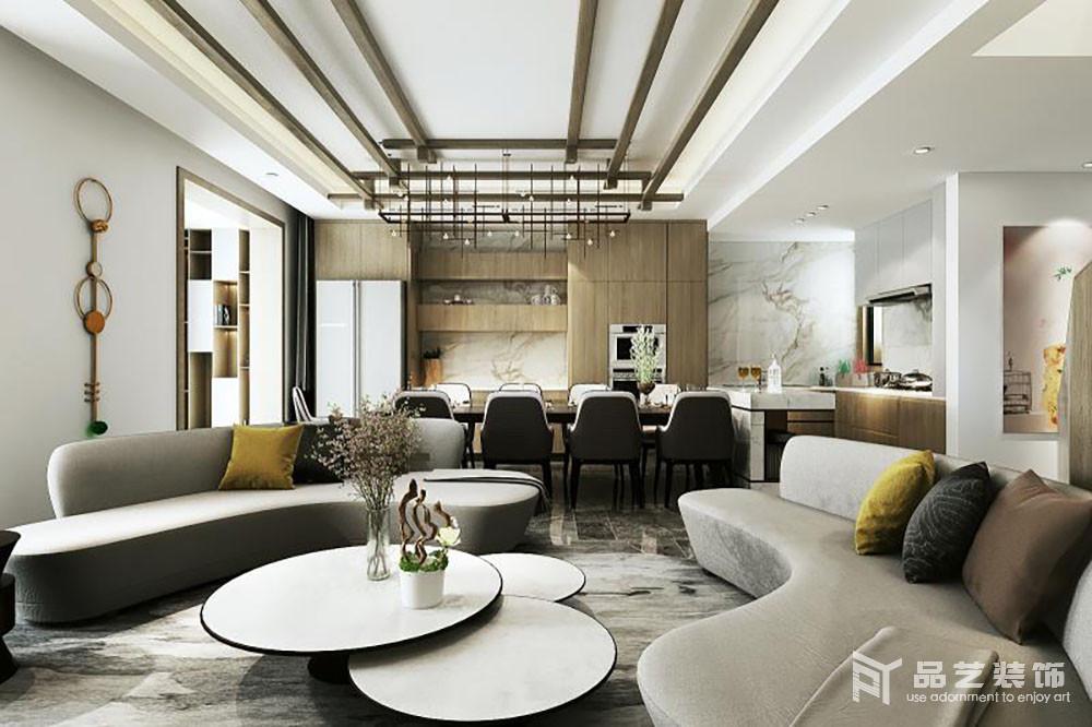 客厅与餐厅以动线分割,看似紧凑却极具现代都市感,吊顶木梁的层叠设计,搭配线性铁艺吊灯,张扬现代立体美学,也解决了空间设计和光晕之间的关心;环状沙发法兰绒质地颇显品质,同时搭配上下层圆几,彰显和谐和时尚;而餐区整齐陈列的桌椅,无疑,让就餐也成为一种享受。