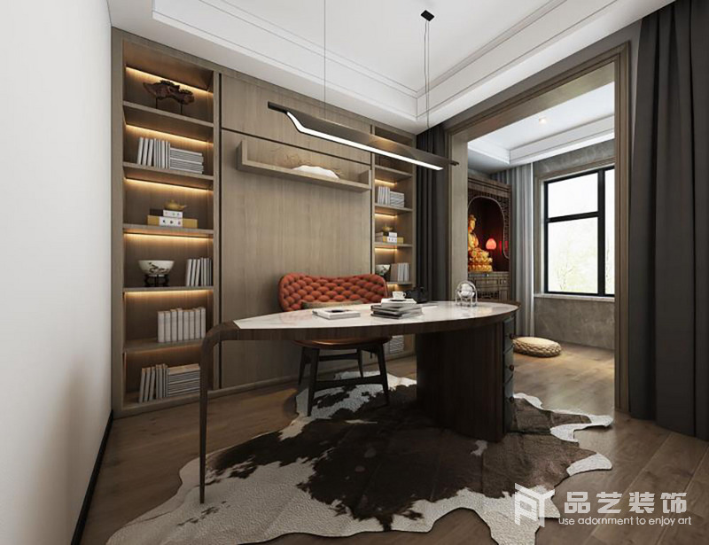 書房分為兩個區域,一個是主人的書房,一個是主人私人性空間;書房的設計以定制得書柜,將主人的藏書得以安放,并因木紋地質地和肌理,烘托主自然樸質,再加上幾何的設計,頗為現代;橢圓形大理石桌搭配紅色新古典椅子,裹挾出小華貴。