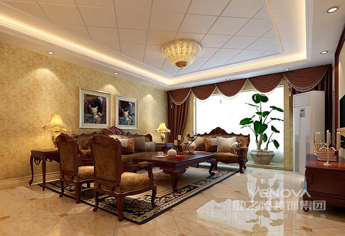 整个三居室的空间以欧式为主,从功能出发,利用实木、浮雕壁纸、手工地毯和巴洛克式的家具,给主人一种尊贵的生活质感;色彩上的沉稳,造型上的讲究和布艺上的精工细作,无形中凸显出欧式雍