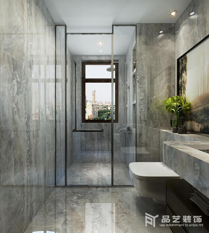 衛生間以灰色水泥來鋪貼空間,直線型的設計更為整潔現代;淋浴室內通過墻體擱出來的收納臺,讓沐浴更便捷和實用,加上干濕分區的設計,也愈發自在;懸掛式盥洗臺設計簡單粗獷,讓生活多了工業冷冽,也還原了一個樸質無瑕的生活。