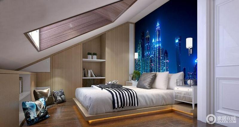 充分利用卧室的坡度,位置合适的天井,晚上躺在床上可以一览广阔天空,蓝色的背景墙,更给一种在大城市的身临其境。