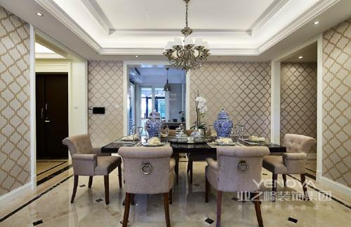 新古典不但有着欧式的古典浪漫,更有现代的时尚雅调;在本案中,空间主要营造一种高贵与优雅的生活品质,用于突显出屋主的品味追求;大量的护墙板线条和壁纸的格纹线条的使用,将空间串联出丰富层次感,整体空间看起来和谐而富有基调。