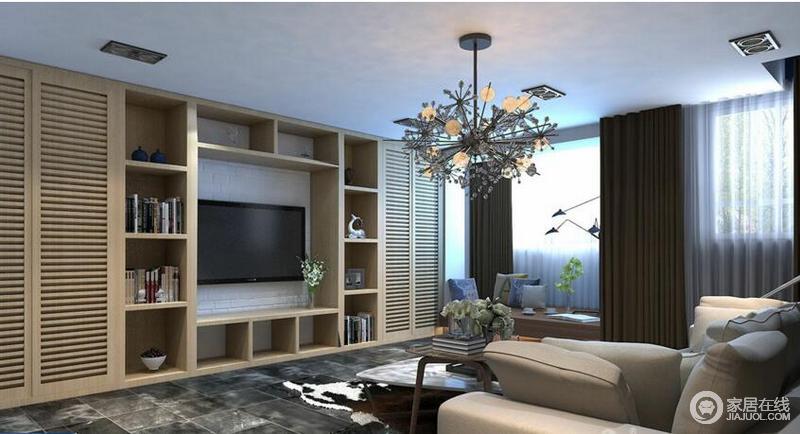 电视背景墙,增加储物空间,可以放上多年的收藏品,也是室内的一道风景。