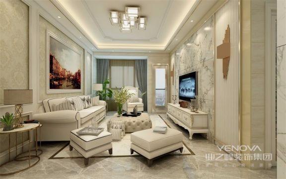 简洁流畅的线条,浅色大理石的地板配上简约的电视背景墙,给空间增添了时尚感。